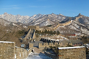 Snow-covered stretch of the Great Wall of China at Badaling near Beijing