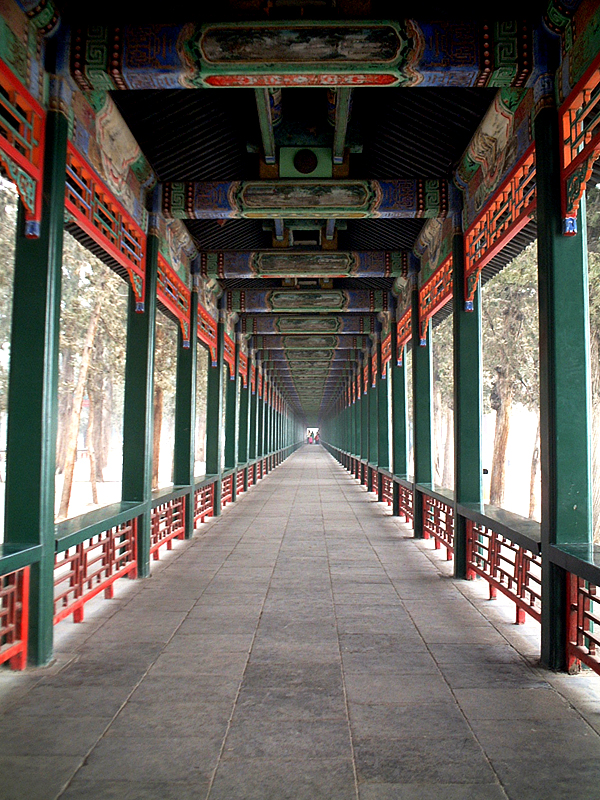 A view down the Long Corridor at the Summer Palace, Beijing, China