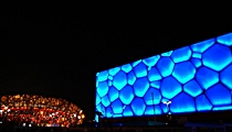 Beijing - Water Cube and Bird's Nest - night - Momo Wong - 210 x 120
