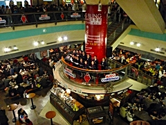 "A choir performs in a Shanghai mall event called ""Bling Christmas"""