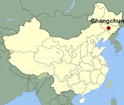 Map of China showing the location of Changchun