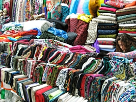 Colorful textiles for sale in a Changchun market