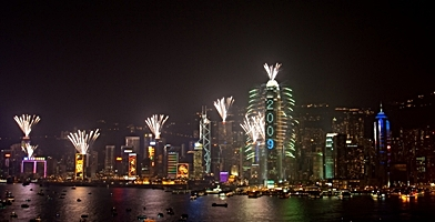 Chinese New Year fireworks over Hong Kong Island in 2009