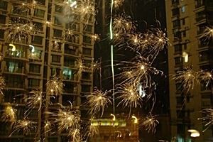 Chinese New Year fireworks exploding in Shanghai, China