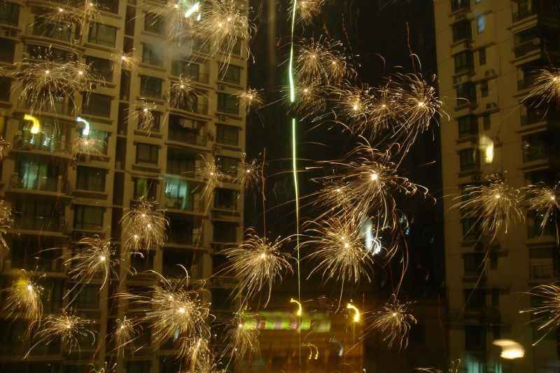 chinese new year fireworks exploding in shanghai china - Chinese New Year Video