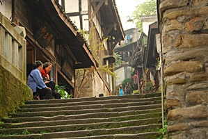 A traditional village lane in Ciqikou (磁器口), a popular old town area in Chongqing (重庆), China