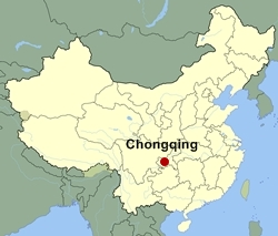Map of China showing the location of Chongqing - 250 x 213