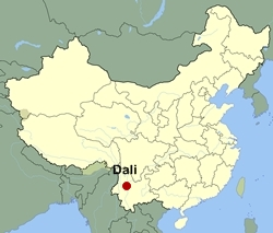 Map of China showing the location of Dali