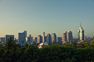 Part of the Dalian (大连), China, skyline seen from Labour Park