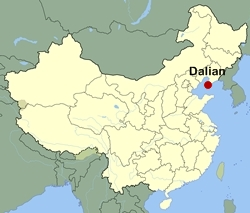 Map of China showing the location of Dalian