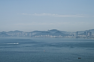 View of the hills and buildings of Dalian (大连), China, from the ocean