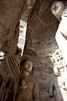 Looking toward the ceiling of a grotto at the Yungang Grottoes near Datong (大同), China
