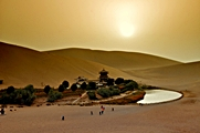 Crescent Moon Spring, amidst giant sand dunes, near Dunhuang, China