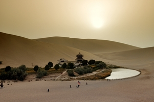 The oasis at Crescent Moon Spring near Dunhuang (敦煌), China