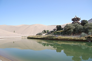 Crescent Moon Spring and Singing Sand Mountain (Mingshashan) near Dunhuang (敦煌), China