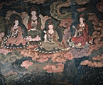 An ancient mural in the Mogao Caves (or Mogao Grottoes) near Dunhuang, China