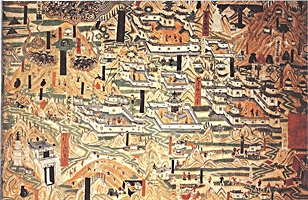 A mural painting in the Mogao Caves near Dunhuang (敦煌), China, depicting Mount Wutai Buddhist monasteries