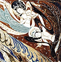 A mural painting depicting flying apsaras in the Mogao Caves near Dunhuang (敦煌), China