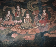 A mural painting depicting seated Bodhisattvas in the Mogao Caves near Dunhuang (敦煌), China