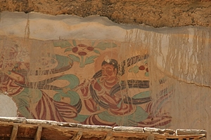 A weathered mural at the Mogao Caves near Dunhuang (敦煌), China