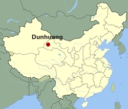 Map of China showing the location of Dunhuang