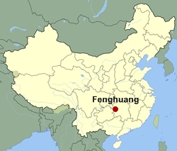 Map of China showing the location of Fenghuang