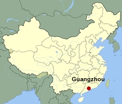 Map of China showing the location of Guangzhou