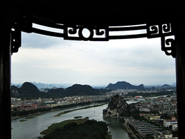 View of the Li River (漓江), karst hills, and part of city from a pavilion on Butterfly Hill in Guilin, China