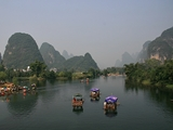 Rafts on the Li River near Guilin, China