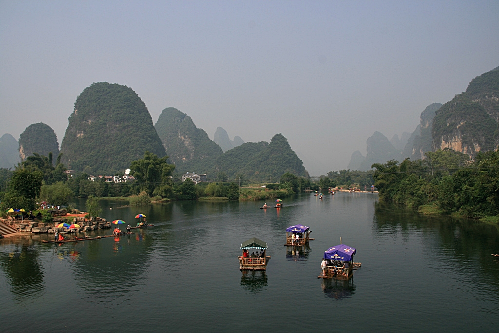 Rafts and karst hills on the Li River, Guilin, China