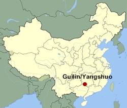 Map of China showing the location of the Guilin/Yangshuo area