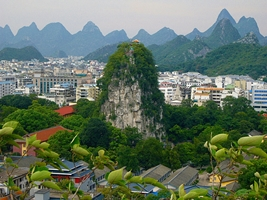 Karst hills surrounding downtown Guilin (桂林), China