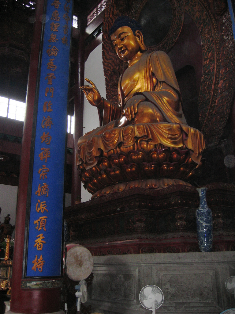 A Buddha statue at Lingyin Temple in Hangzhou (杭州), China