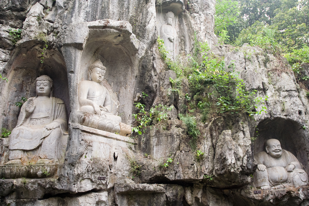 Centuries-old Buddhist cliff carvings at Lingyin Temple's Feilai Peak in Hangzhou (杭州), China