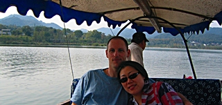 Relaxing in a boat on West Lake in Hangzhou