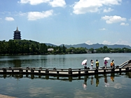 Leifeng Pagoda on a hill overlooking West Lake in Hangzhou, China