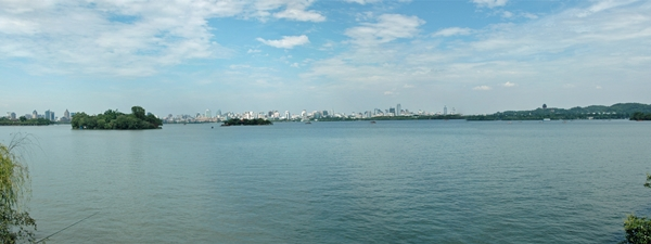 A panoramic view of West Lake in Hangzhou, China
