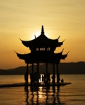 Hangzhou - West Lake - pavilion - sunset - Romain Guy - 121 x 150