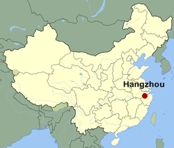 Map of China showing the location of Hangzhou