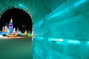 View of towers from an ice tunnel at Ice and Snow World in Harbin, China