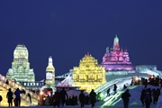 Giant ice sculptures at Ice and Snow World in Harbin (Haerbin), China