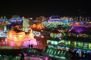A view of numerous large ice sculptures at Ice and Snow World in Harbin, China