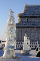 Ice sculptures of government ministers at Ice and Snow World in Harbin, China