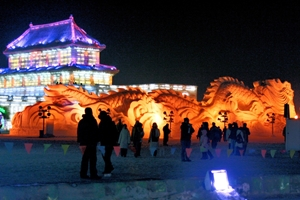 A giant snow dragon at Ice and Snow World in Harbin, China