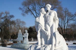 A suggestive snow sculpture of a man and a woman at Ice and Snow World in Harbin, China