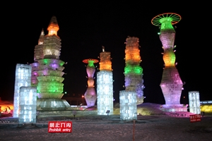 Futuristic towers or spaceships at Ice and Snow World in Harbin, China