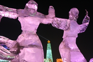 Ice statues at Ice and Snow World in Harbin, China