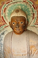 A Buddha statue at the Hanging Temple, Hanging Monastery, or Xuankong Temple on Mount Heng (恒山), China
