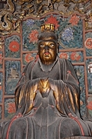 A Confucian statue at the Hanging Temple, Hanging Monastery, or Xuankong Temple at Mount Heng (恒山), China