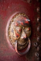 A doorknocker with the face of a demon at the Hanging Temple, Hanging Monastery, or Xuankong Temple on Mount Heng (恒山), China